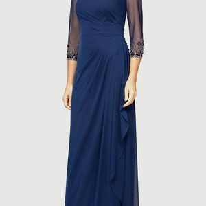 Alex Evenings Women's Navy Embellished Gown 16